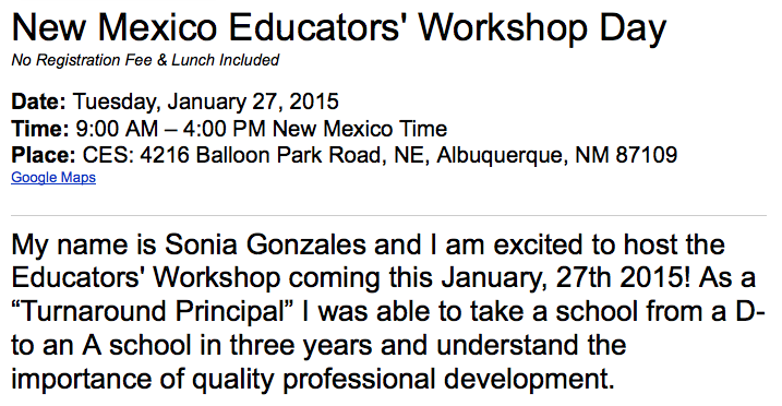 NM Workshop Tuesday January 27