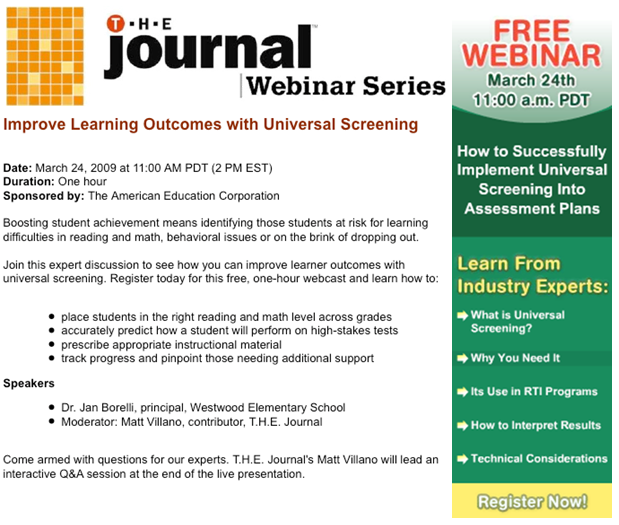 THE Journal Webinar Series: Universal Screening - Tuesday, March 24